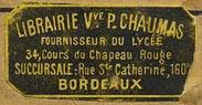 Librairie Vve.P. Chaumas, Bordeaux [France] (30mm x 15mm, ca.1881)